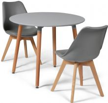 Toulouse Dining Set  - 90cms Round Grey Table & 2 Grey Chairs